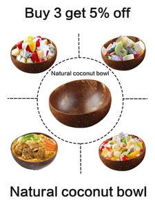 Mixing Bowl Tableware Coconut-Bowl-Set Salad Dessert Wood-Spoon Fruit Rice Handmade Natural