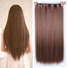 Allaosify 60 см 5 зажимов для наращивания волос термостойкие Шиньоны Длинные прямые прически синтетические заколки для волос серые волосы