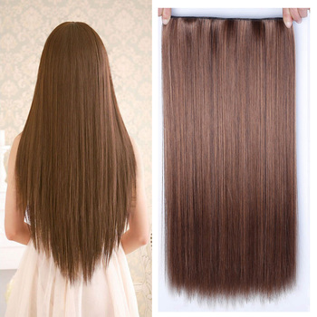 Allaosify 60 centimetri 5 Clip In Extensions Resistente Al Calore Posticci Lungo Rettilineo Acconciature Clip Sintetica In on hair Capelli Grigi