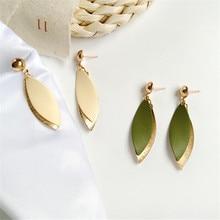 New fashion exaggerated large earrings female geometric leaf shape earrings gold jewelry party gifts wholesale 2019 fashion leaf silver earrings basho shape earrings