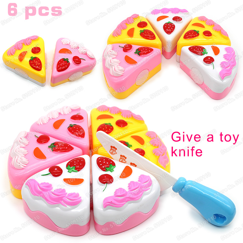 6PCS Cake Toy Kitchen Food Pretend Play Cutting Fruit Birthday Toys For Kid Educational Gift Children's Toy Kitchen Girls Toys
