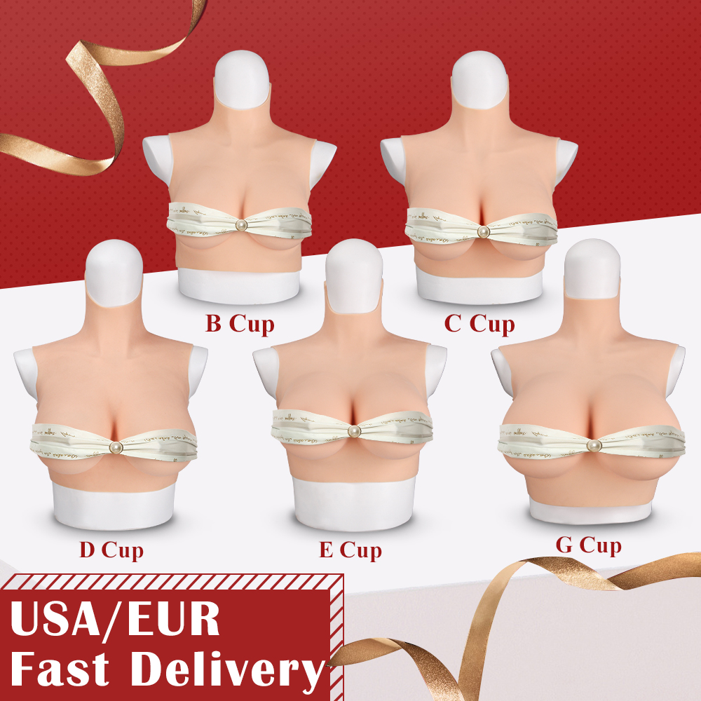 KUMIHO 4G Cotton Filling Silicone Fake Boobs BCDEG Cup Breast Forms Cosplay Costumes for Drag Queen with Red blood skin