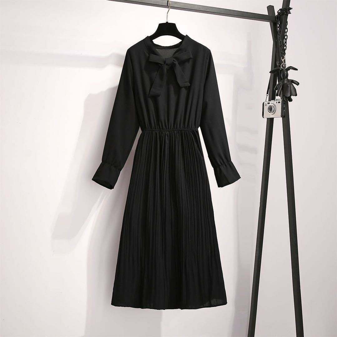 2020 New Girl Style One Piece Suit Dress, Women's Autumn and Winter Show Thin Long Sleeve Pleated Medium Length Shirt Dress 8