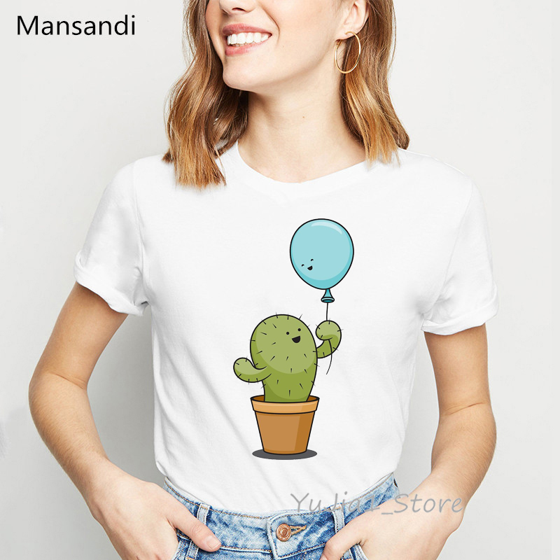 Harajuku Kawaii Cactus Balloon Printed Women Clothes 2019 Summer Top Female White T-shirt Graphic Funny T Shirts Tumblr Tshirt