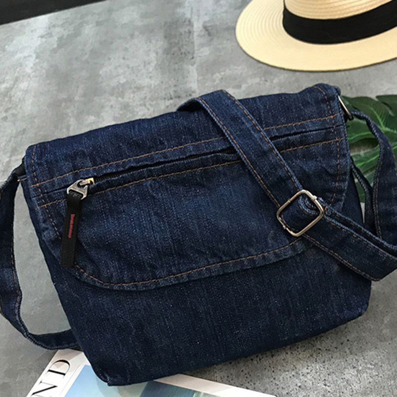 Fashion Vintage Jeans Flap Simple Denim Women Bags HandBags Crossbody Messenger Purse Shoulder Bag