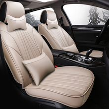 Leather car seat cover 5 sit truck universal organize protector cushion  accessories-styling auto Simple luxury for most car universal auto car seat cover auto front rear chair covers seat cushion protector car interior accessories 3 colors