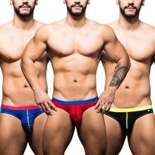 Сексуальное мужское нижнее белье для мальчиков, трусы с выпуклой сумкой из хлопка и спандекса для геев