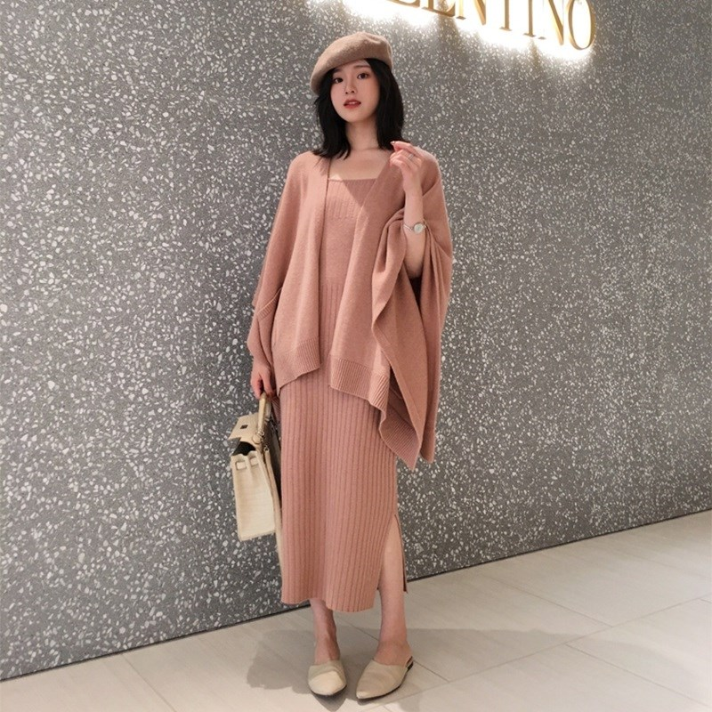 Autumn Winter Women Two Piece Set Knit Wool Blends Cardigan Coat Knitwear And Bodycon Dress Knitted Outfits
