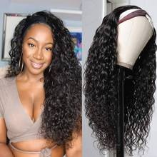 Headband Wig Full-Machine Human-Hair Water-Wave Remy Black Natural-Color Women Peruvian