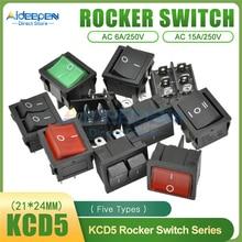 KCD5 Rocker Switch 21x24mm AC 15A/250V 6A/250V 2 Files 4 Copper Feet/3 Files 6 Copper Feet Toggle Switch With LED Light