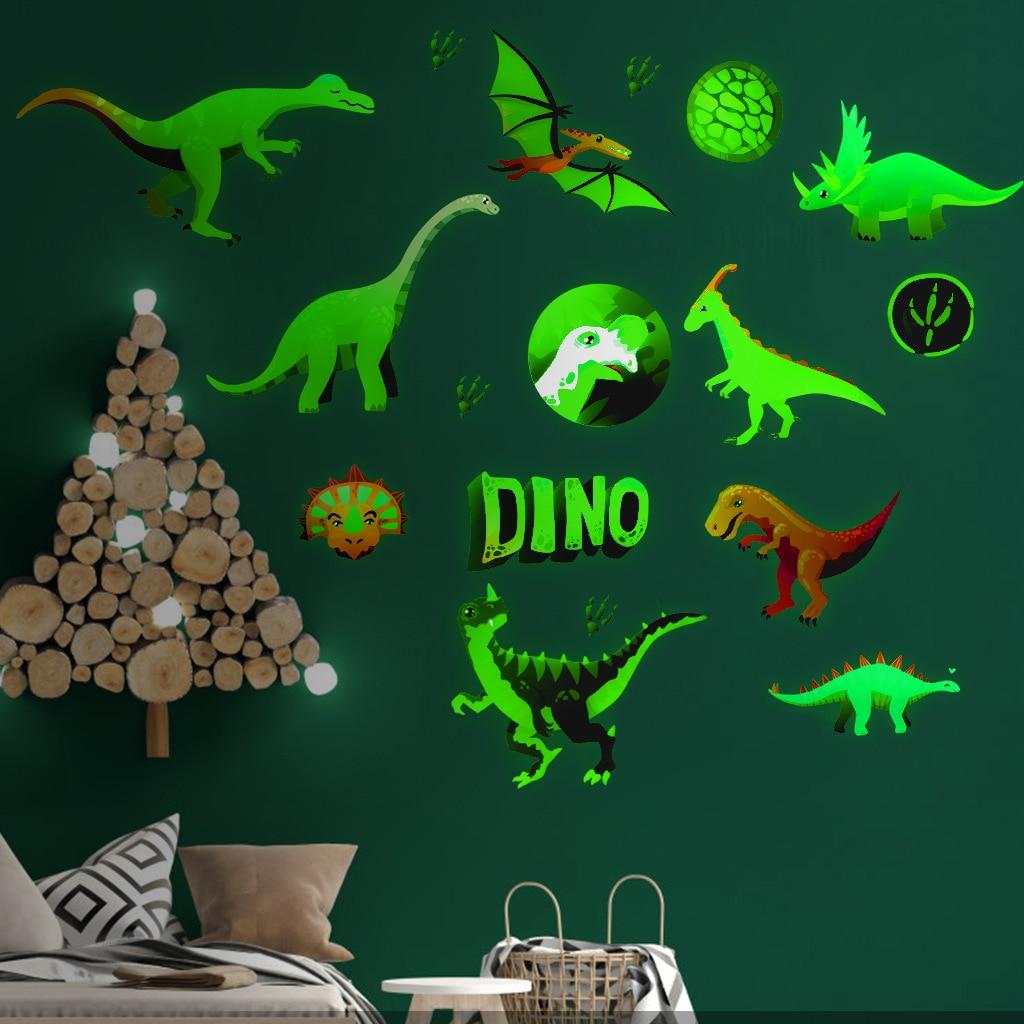 Pegatinas luminosas que brillan en la oscuridad para decoración del hogar, sala de estar para habitaciones de niños, accesorios de decoración del hogar, dinosaurio de dibujos animados de Anime