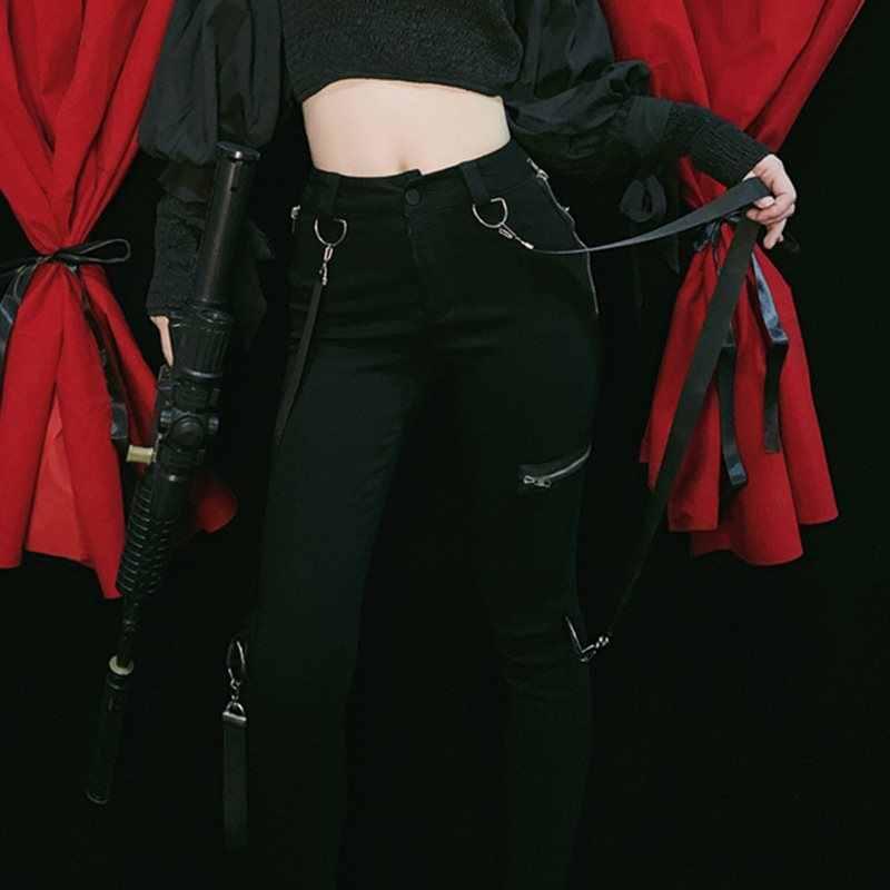 Rosetic 2020 Casual Cargo Broek Vrouwen Streetwear Gothic Punk Bandage Ontwerp Broek Zwart Joggers Lente Hoge Taille Joggingbroek
