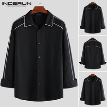 Mens Long Sleeve Shirts Fashion Man Loose Lapel Patchwork Shirt Men Casual Black Button Up Blouse Vintage Tops Camisa Plus Size plus lace insert button up blouse