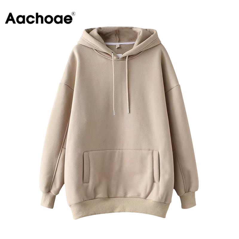 Aachoae Casual Solid Hooded Hoodies Women Batwing Long Sleeve Plus Size Sweatshirts Autumn Pullover Pure Fashion Tops Sudaderas 1