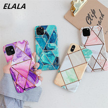 ELALA Glossy Plating Geometric Marble Phone Case For iPhone 11 Pro XS Max X XR 6s 7 8Plus Cover Soft IMD Electroplated Capa