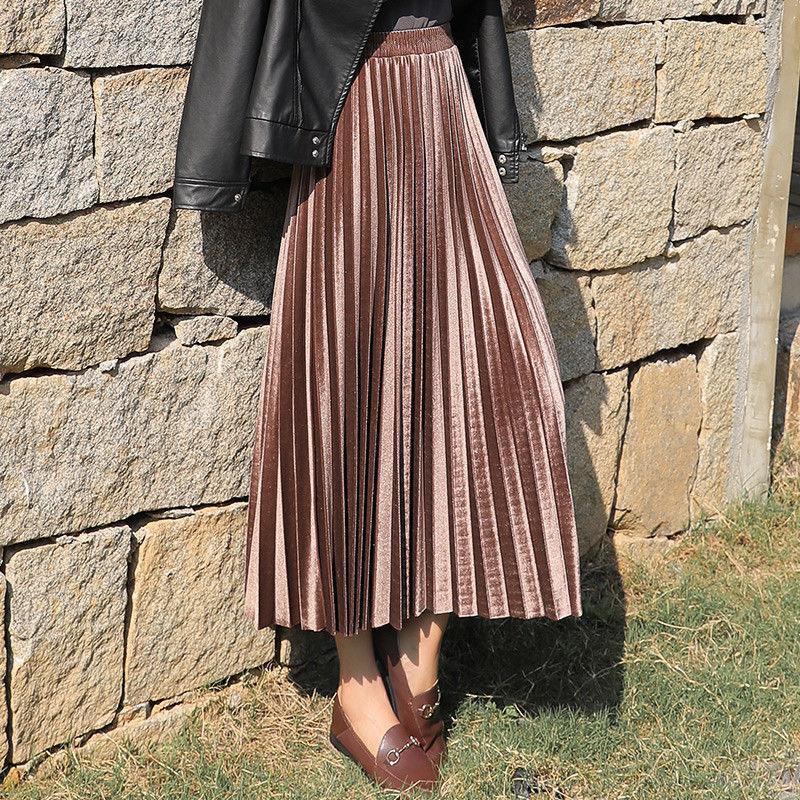 MEVGOHOT 2019 Autumn Winter Woman Gold Casual Pleated Skirt Plus Size High Waist Shiny Reflective Basic Velvet Skirt HD2799