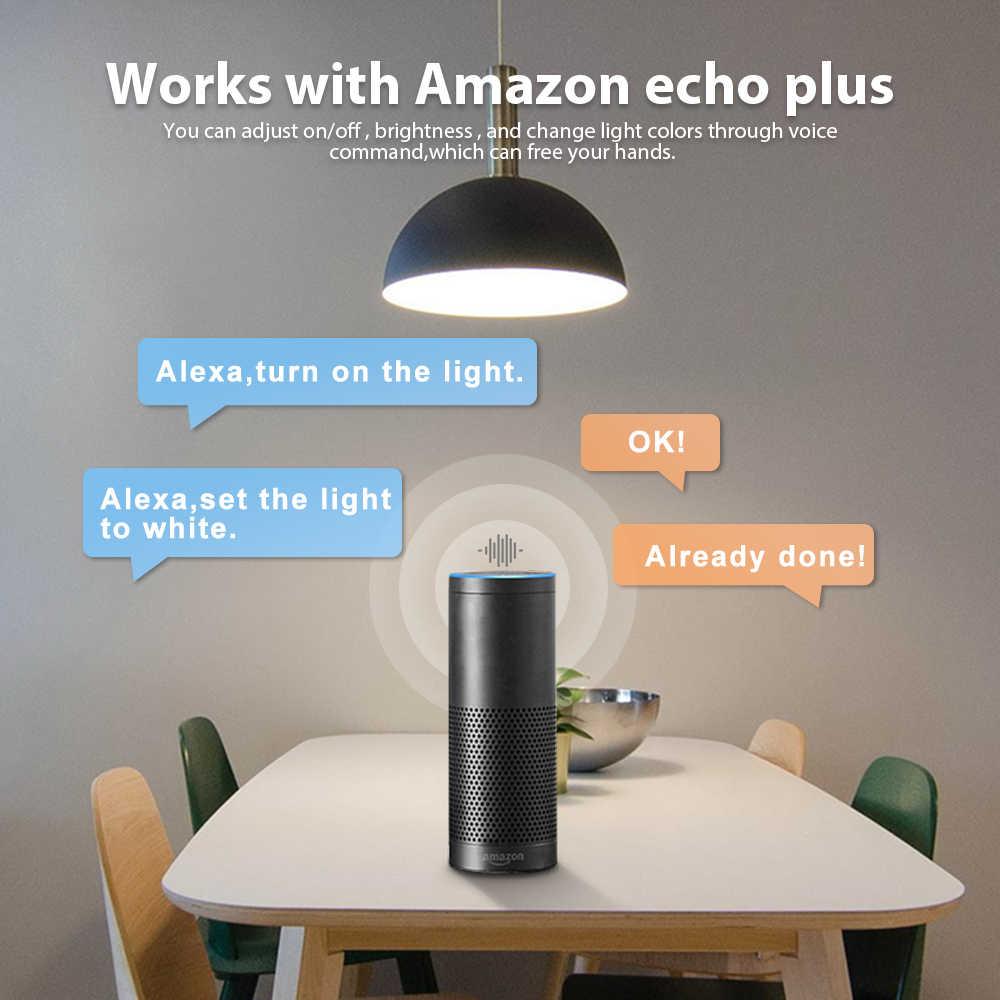 G светодиодный opto бело-Цвет E27 12 Вт светодиодный смарт-лампы в виде от поставщика kes, 2 штуки в упаковке Zigbee Совместимость 3,0 шлюз, Голосовое управление с Alexa, 6-зоны РФ Пульт дистанционного управления
