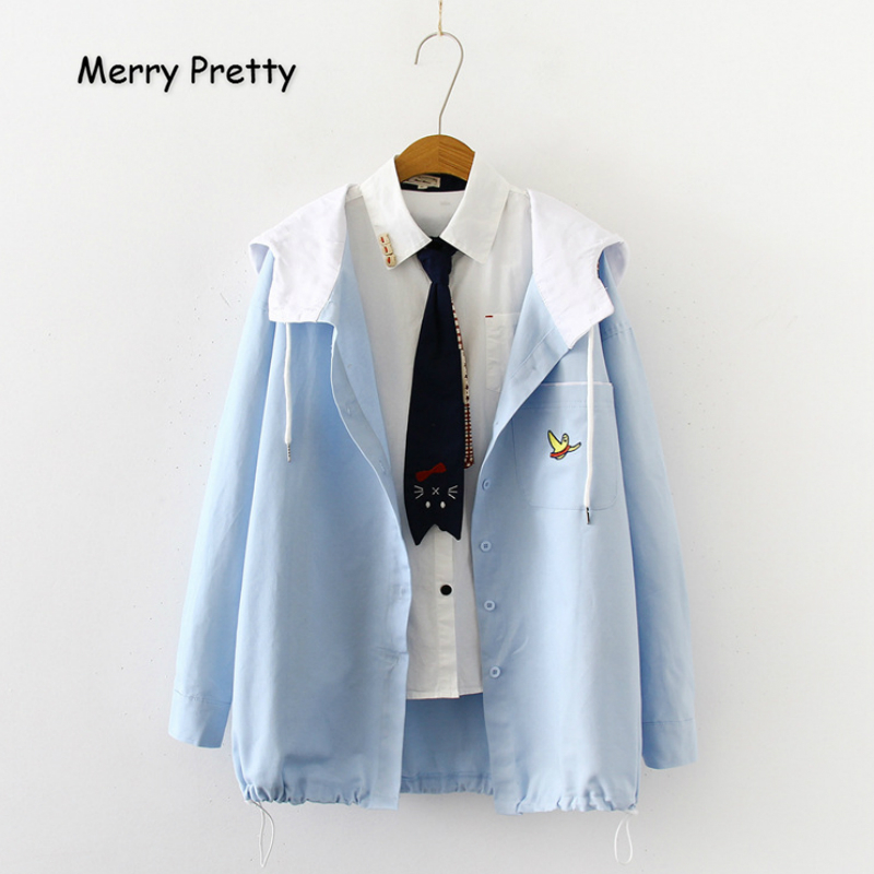 MERRY PRETTY Women Cartoon Embroidery   Basic     Jackets   And Coats 2019 Winter Long Sleeve Hooded   Jacket   Single Breasted   Jackets