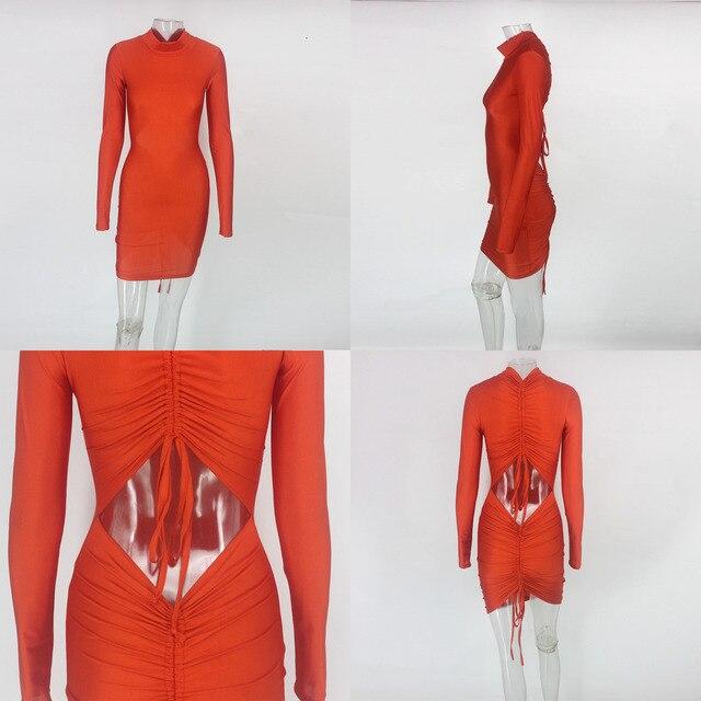 Mini Bodycon Dress kylie jenner Women backless long sleeve Autumn Dress Elegant Sexy Dresses Vestidos 5