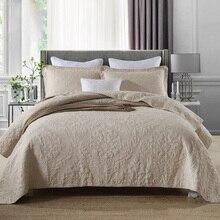 CHAUSUB простое вышитое покрывало, набор стёганых одеял из 3 предметов, однотонное хлопковое стеганое одеяло s, покрывало на кровать, Shams queen size, бежевое покрывало, наборы