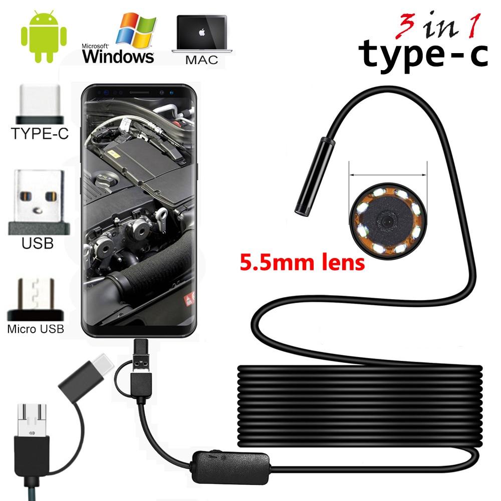 2 m/5 3m Cabo 5.5 milímetros 8mm Lente PC Android TypeC Boroscópios Câmera Endoscópio Industrial USB Mini endoscópio Impermeável
