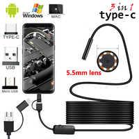 2 m/5 m Kabel 5,5mm 8mm Objektiv PC Android Endoskop Kamera Industrielle Endoskope Rollenmaschinenlinie Typc USB Mini endoskop Wasserdicht