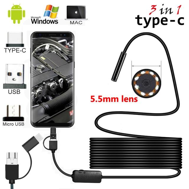 2 m/5 m kablo 5.5mm 8mm Lens PC Android endoskop kamera endüstriyel Borescopes c tipi USB Mini endoskop su geçirmez