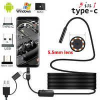 2m/5m Cable 5.5mm 8mm Lens PC Android Endoscope Camera Industrial Borescopes TypeC USB Mini Endoscope Waterproof