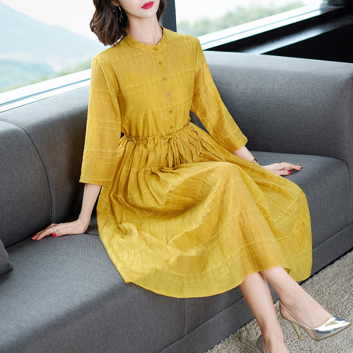 Summer Pure Ramie Yellow Dress Women's 2019 New Style Cotton Linen Elegant Mid-length Slimming Large-sized Skirt
