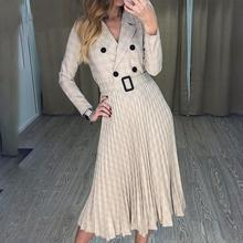 Fadzeco Vintage Pleated Belt Plaid Dress Women Elegant Office Ladies Blazer Dresses Long Sleeve Female Autumn Midi Party Dress