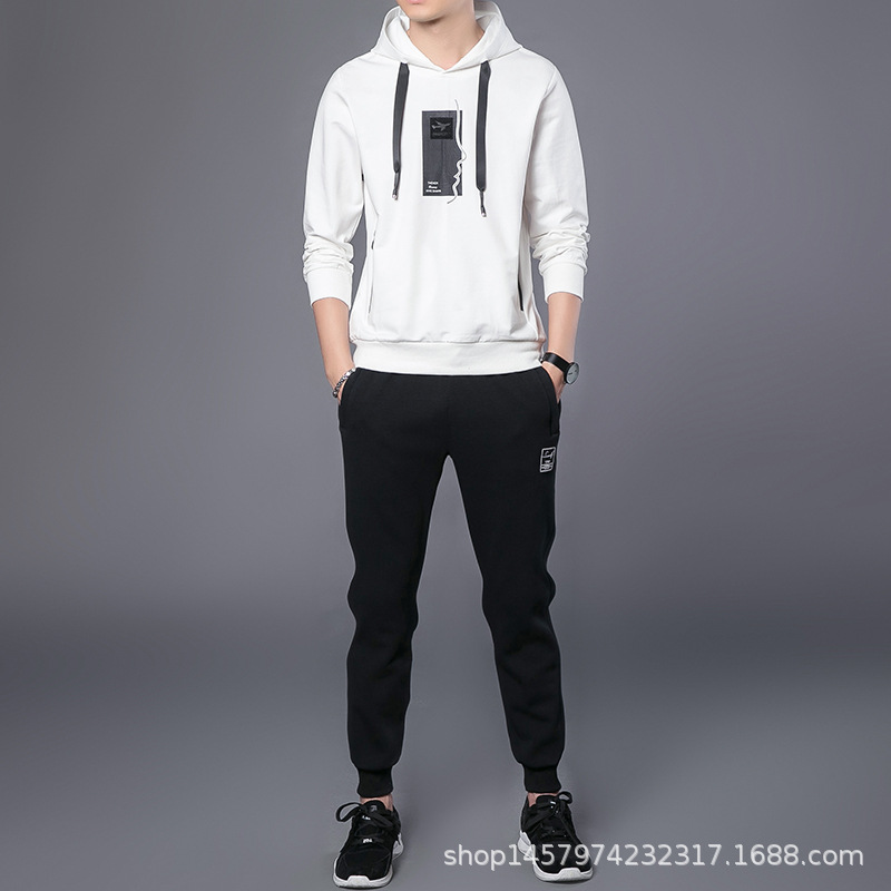 Hoodie Suit MEN'S Coat Hoodie Korean-style Popular Brand Students Spring And Autumn Teenager New Style Casual Two-Piece Set