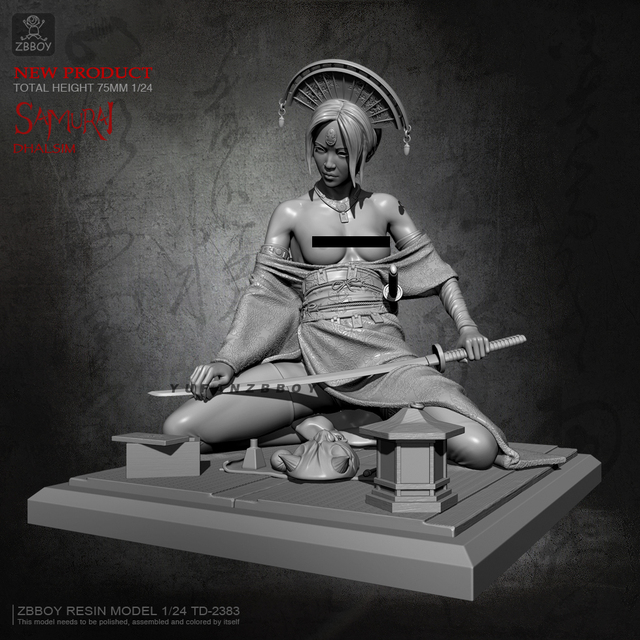 Samurai girl 02 75mm.