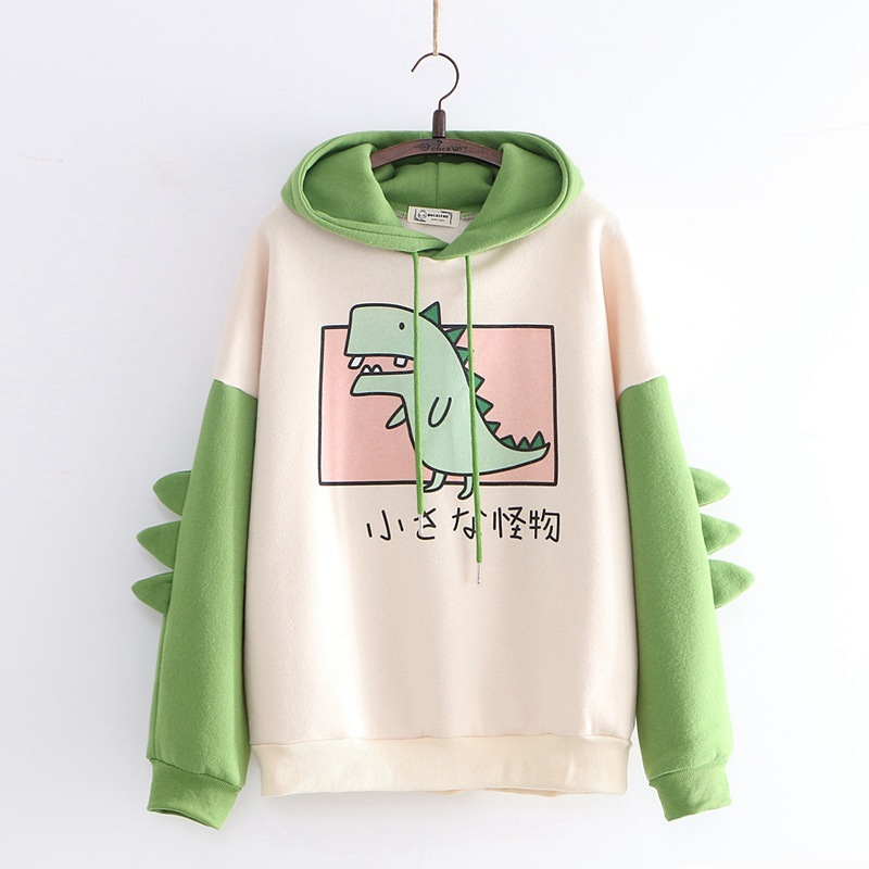 Dinosaur Sweatshirts Women Hoodies Warm Pullovers Tops With Horns Harajuku Hooded Girls Teens Cute Kawaii Hooded Sweatshirts New