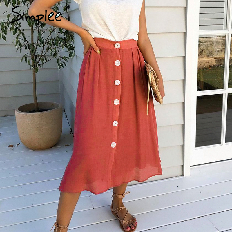 Simplee Casual Buttons Women Midi Skirts Vintage Mid-waist Solid Female A-line Skirt Spring Summer Holiday Ladies Skirts Bottoms