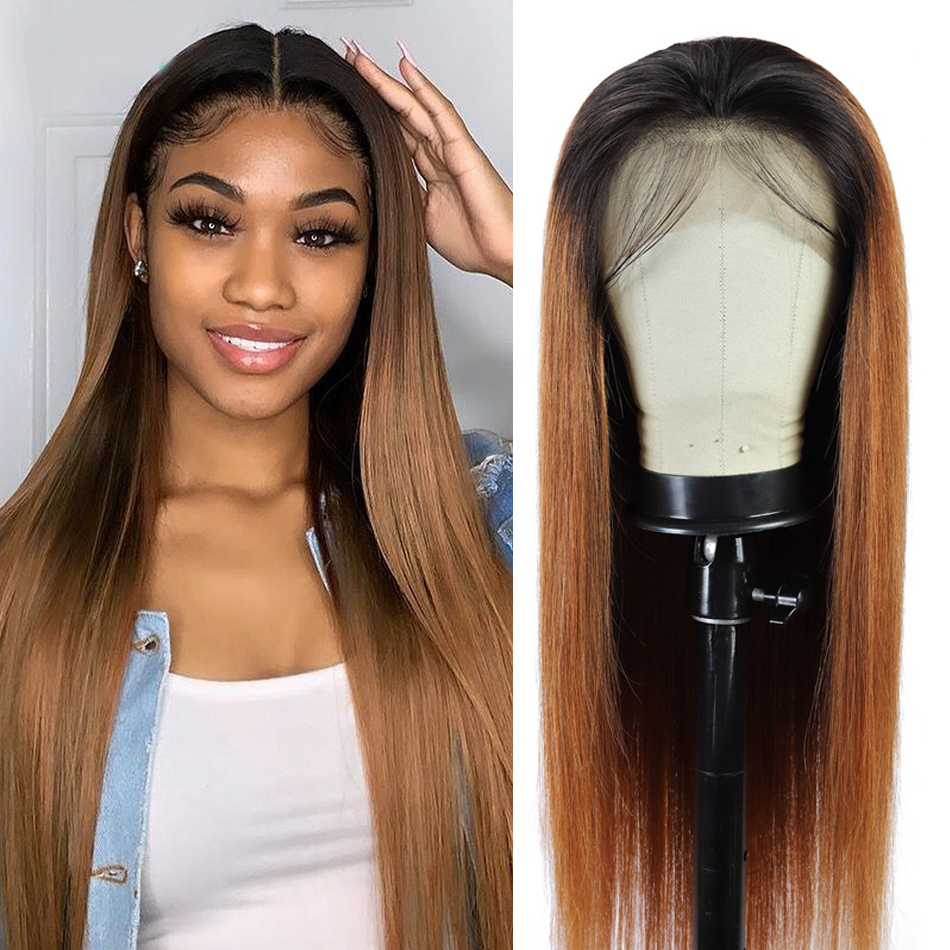 Ombre Human Hair Wigs 1B/30# Colored Honey Blonde Lace Front Wigs Pre Plucked 13x4 150% Brazilian Remy Lace Frontal Wigs