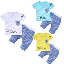 2Pcs/Set School Kids Boy Kids T-shirt + Pants Set Short Sleeve O Neck T-shirt Elastic Stripe Pants Outfit For Kids Boy Kids sexy hollow high neck stripe pattern t shirt