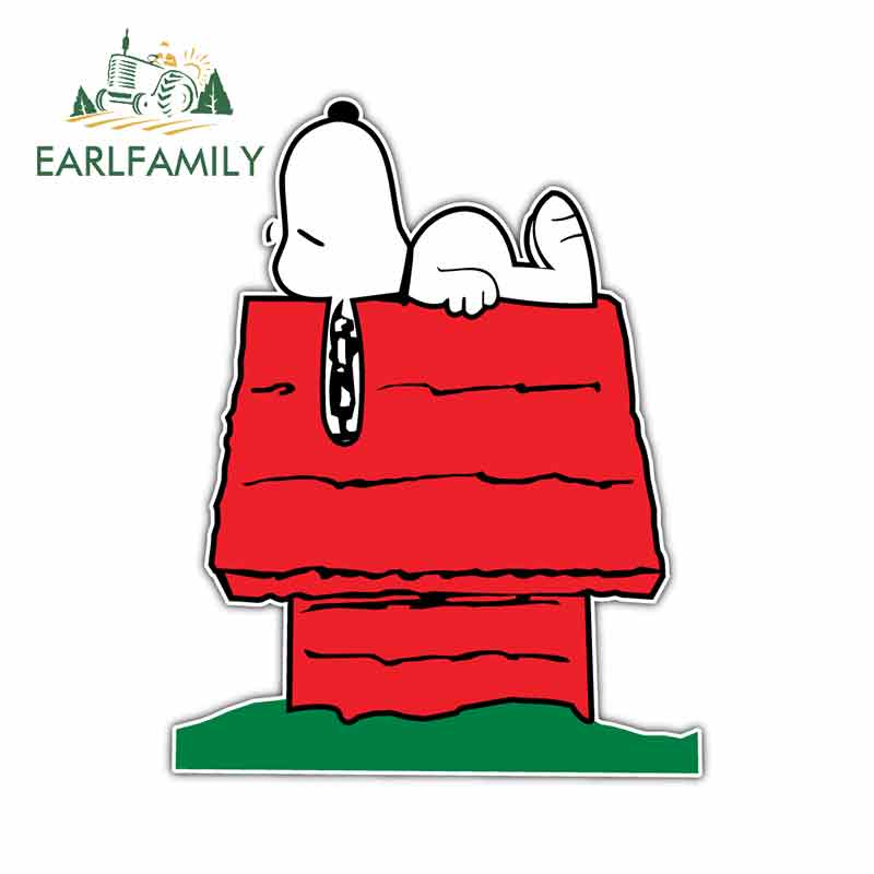 EARLFAMILY 13cm X 10.3cm For Snoopy Dog Kids Cartoon Funny Car Stickers RV VAN 3D DIY Fine Decal Bumper Trunk Truck Graphics