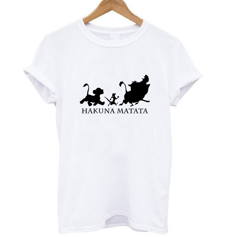 <font><b>Lion</b></font> <font><b>King</b></font> Hakuna Matata Tshirt <font><b>Women</b></font> Plus Size Ulzzang Korean Style Tumblr <font><b>T</b></font>-<font><b>shirt</b></font> Femme Casual Streetwear Summer White Tops image