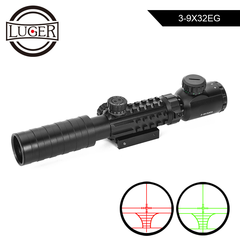 3 9x32 EG Hunting Optics Scope Red Green Dot Illuminated Sight Riflescope 11/22mm Rail Tactical Sniper Air Gun Rifle Scope Riflescopes     - title=