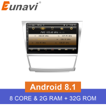Eunavi IPS 2G RAM 2 Din Quad Core 8 Android 8.1 Car GPS Navigation For Toyota Camry 2007 2008 2009 2010 Head Unit Car Stereo цена