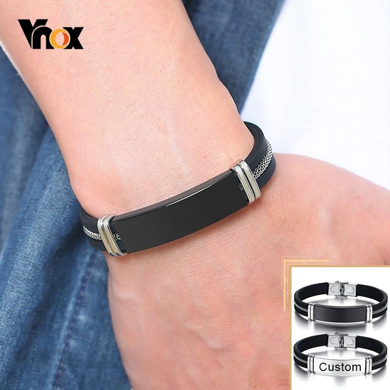Vnox 12mm Anpassen männer Armband Schwarz Rillen Silikon Mesh Edelstahl Einsatz Bangle Casual Personalisierte Männlichen Armband