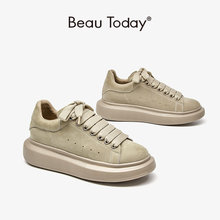 BeauToday Women Platform Sneakers Cow Suede Leather Lace-Up Casual Round Toe Lady Flats Shoes with Thick Sole Handmade 29116