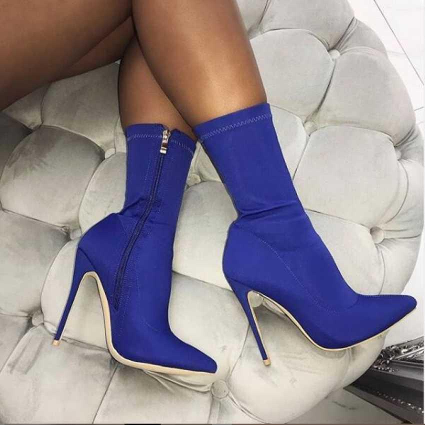 2019 ใหม่สตรีถุงเท้ารองเท้าบู๊ทข้อเท้าฤดูหนาวผู้หญิงผ้ายืดรองเท้าส้นสูงรองเท้าผู้หญิง Chaussure Lady รองเท้าส้นสูงรองเท้า