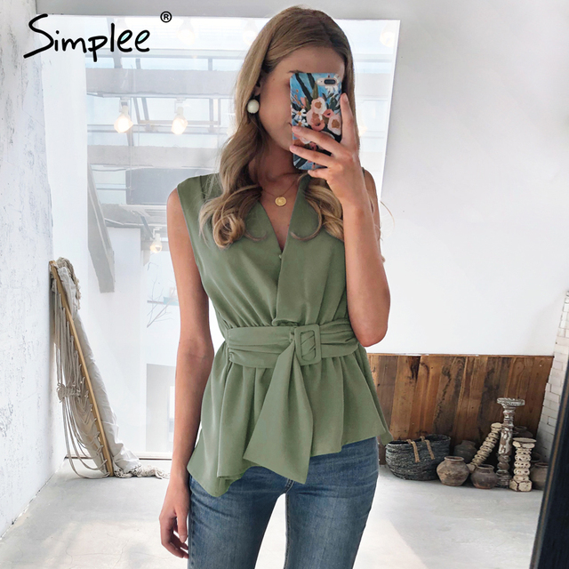 Simplee Elegant solid green sleeveless women tank top Feminina sexy ladies top Casual female work wear office lady tops camis