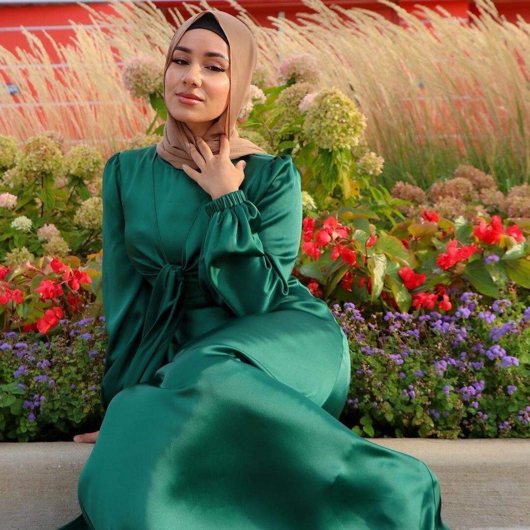 de cetim muçulmano feminino cor sólida casual