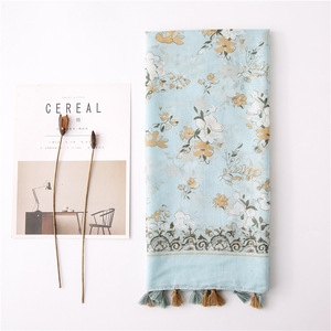 Image 1 - foulard femme womens autumn winter Spain style ethnic long blue FLORAL scarf Pashminas Sjaal Muslim Hijab Snood