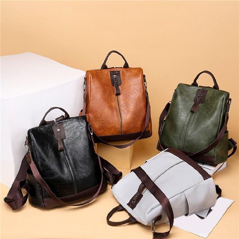 Female Backpack Mochila Feminina Multifunction Girls Leather School Brand Women Shoulder Bag Sac A Dos Travel Back Pack