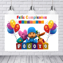 Photography Backdrop Cartoon Characters Pocoyo Birthday Party Baby Child Colorful Balloon Photo Backdgrounds for Studio