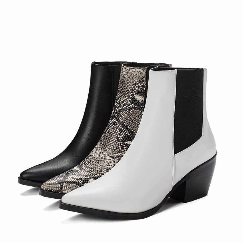 QUTAA 2020 yılan derisi PU deri kare yüksek topuk muhtasar kadın ayakkabı sonbahar kış sivri burun kayma yarım çizmeler büyük Size34-43