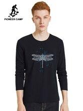 Pioneer Camp nouveau 2020 libellule imprimé T Shirt hommes à manches longues bleu foncé blanc noir couleur printemps été T Shirt